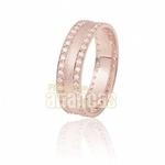 Aparador Para Aliança De Noivado e Casamento Em Ouro Rose 18k 0,750 Fa-808-u-r