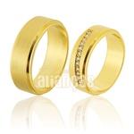 Alianças De Noivado e Casamento Em Ouro Amarelo 18k 0,750 Fa-821