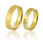 Alianças De Noivado e Casamento Em Ouro Amarelo 18k 0,750 Fa-851