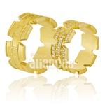 Alianças De Noivado e Casamento Em Ouro Amarelo 18k 0,750 Fa-856
