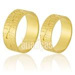 Alianças De Noivado e Casamento Em Ouro Amarelo 18k 0,750 Fa-858