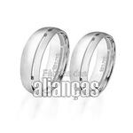 Alianças De Noivado e Casamento Em Ouro Branco 18k 0,750 Fa-87-b