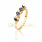 Meia Aliança Com Safiras Naturais e Diamantes Em Ouro 18k 0,750 Fa-ma-07