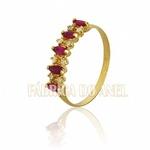 Meia Aliança Com Rubis e Diamantes Em Ouro 18k 0,750 Fa-ma-10
