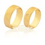 Alianças De Noivado e Casamento Em Ouro Amarelo 18k 0,750 Fa-1595