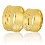 Alianças De Noivado e Casamento Em Ouro Amarelo 18k 0,750 Fa-395
