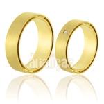 Alianças De Noivado e Casamento Em Ouro Amarelo 18k 0,750 Fa-398
