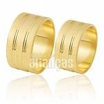 Alianças De Noivado e Casamento Em Ouro Amarelo 18k 0,750 Fa-413