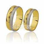 Alianças De Bodas Em Ouro Amarelo e Branco 18k 0,750 Fa-430 Fa-430