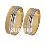 Alianças De Noivado e Casamento Em Ouro Amarelo 18k 0,750 Fa-436