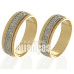 Alianças De Noivado e Casamento Em Ouro Amarelo 18k 0,750 Fa-520