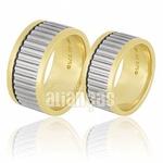 Alianças De Bodas Em Ouro Amarelo 18k 0,750 Fa-671