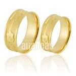 Alianças De Noivado e Casamento Em Ouro Amarelo 18k 0,750 Fa-898