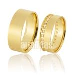 Alianças De Noivado e Casamento Em Ouro Amarelo 18k 0,750 Fa-899