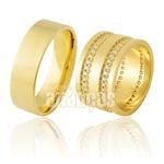 Alianças De Noivado e Casamento Em Ouro Amarelo 18k 0,750 Fa-911