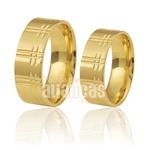Par de Alianças de Casamento Trabalhadas em Ouro