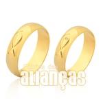Alianças De Noivado e Casamento Em Ouro Amarelo 18k 0,750 Fa-944