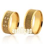 Alianças De Noivado e Casamento Em Ouro Amarelo 18k 0,750 Fa-1036