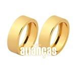 Alianças De Noivado e Casamento Em Ouro Amarelo 18k 0,750 Fa-1042