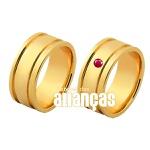 Alianças De Noivado e Casamento Em Ouro Amarelo 18k 0,750 Fa-1137-rubi