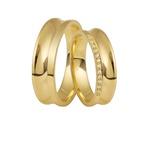 Aliança Concava De Ouro 18k Com Diamantes