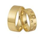 Aliança de ouro 18k com diamantes