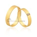 Alianças Com Diamantes Ouro 18k