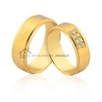 Aliança Em Ouro Com Diamantes