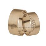 Aliança Em Ouro 18k Rose Com Diamantes