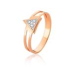 Anel De Triangulo Em Ouro Rose 18k