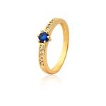 Anel De Noivado Ouro 18k Safira e Diamantes