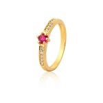 Anel De Noivado Ouro 18k Rubi e Diamantes
