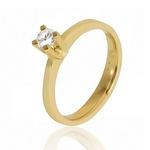 Anel De Noivado Em Ouro 18k Com Diamante