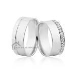 Aliança em Prata de Namoro com Pedras
