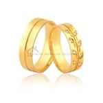 Alianças Com Folhas e Pedras De Ouro 18k