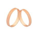 Alianças De Ouro Rosé 18k Com Diamante
