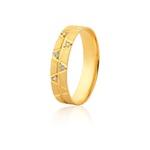 Aliança 05 Diamantes 0,01pontos Ouro Amarelo 18k (5,00mm)
