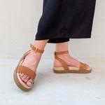 Sandália sola alta caramelo - Olinda