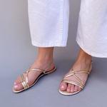 Sandália rasteira dourada - Natal