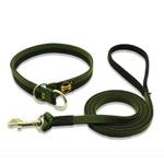Colar Enforcador + Super Guia 1,50m - Verde Militar e Preto