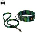 Coleira Amorosso® Cetim Verde Mix + Guia Curta 80cm