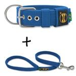 Coleira Para Cachorro Fit + Guia / Azul