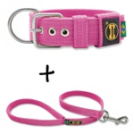 Coleira Para Cachorro Fit + Guia / Rosa