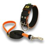 Coleira Para Cachorro Amorosso + Guia longa 1,80m (preto e laranja)
