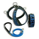 Kit Personalizado Amorosso (Peitoral + Coleira + Guia) preto e azul
