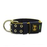 Coleira Para Cachorro Personalizada (Azul Marinho e Amarelo)