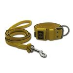 Coleira Para Cachorro + Super Guia 1,50m (amarelo e preto)