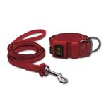 Coleira Para Cachorro + Super Guia 1,50m (vermelho e preto)