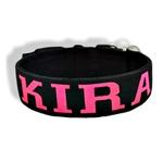 Coleira Para Cachorro Cetim Personalizada (preto e rosa fluor)