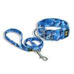 Coleira Camuflado Mar Azul + Guia 80cm